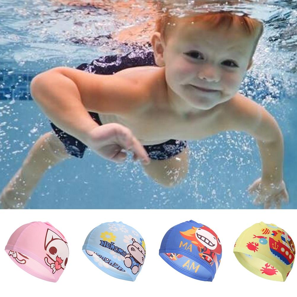 PU Fabric Cartoon Animal SHIP CAT HORSE HIPPO Kid Swimming Cap Waterproof Protect Ear Long Hair Boys Girls Swim Pool Cap