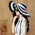 Nova Marca Dobrável Black & White Striped Hat Retro Mulheres Férias de Verão Praia Grande Chapéu