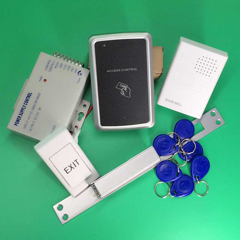125KHz Door Access Control Security System Kit + NC Electric Strike Lock+ Door Bell +Rfid Keyfobs+ Power