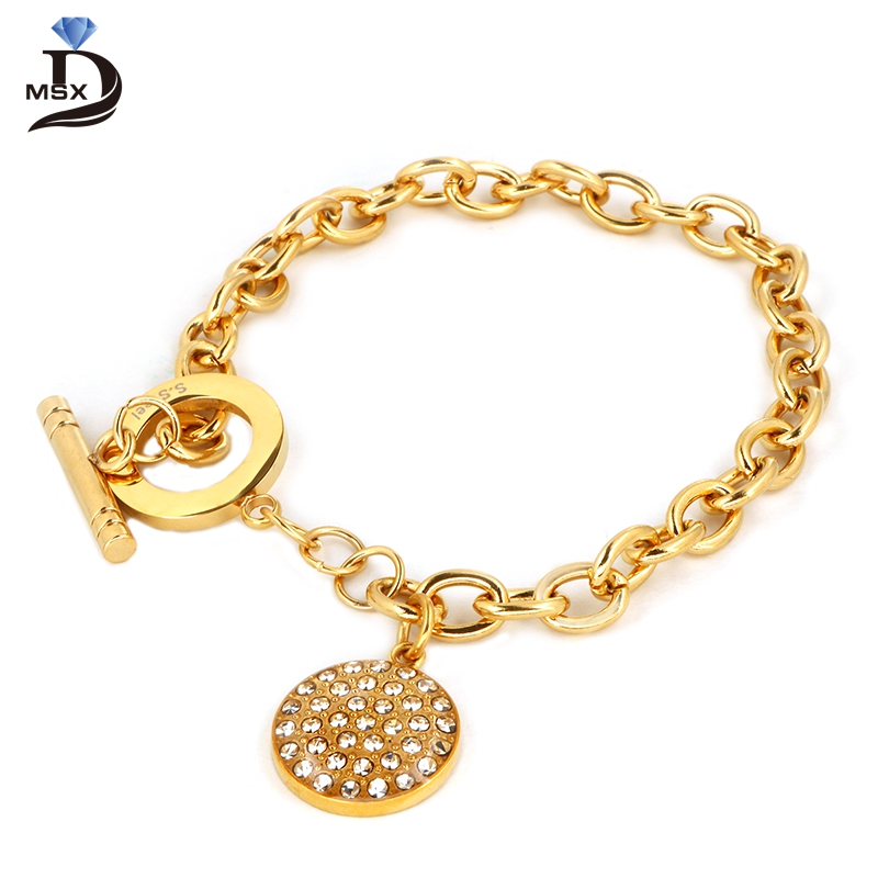 MSX красивые проложить CZ камень никогда не Drop Подвеска цепи Для женщин браслет Высокое качество IP Gold покрытие Нержавеющаясталь браслет