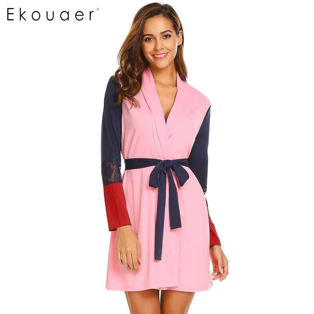 c0bcea6c50 Ekouaer Women Sleepwear Robe Long Sleeve Pockets Patchwork Lace Contrast  Color Kimono Bathrobe Spa Robes Female