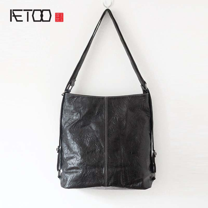 AETOO 2017 new leather handbags simple casual wiping wrinkles wrinkled head layer leather bag soft leather ladies handbag