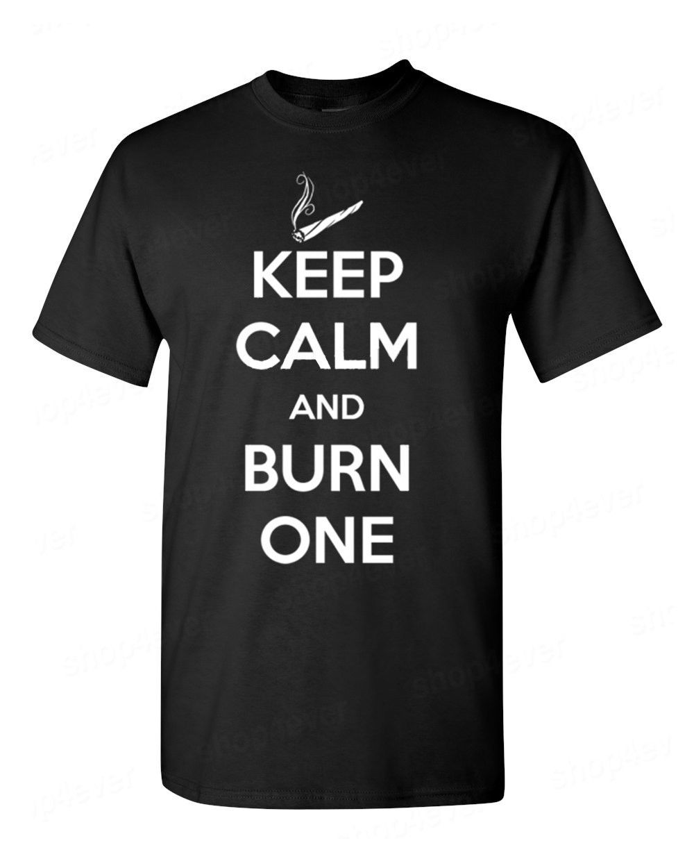Gildan Funny Simple Keep Calm And Burn One T Shirt Blunt Roll Smoking Weed College Party Funny Tee Print Round Neck Man