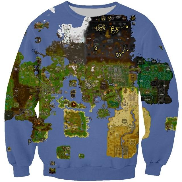 World Map Sweater.Women Men Fashion Sweatshirt Classic Game Full World Map 3d Printed
