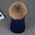 100% Real Pele De Guaxinim Chapéus 15 cm Pompom De Pele 2016 Novo Inverno Cap Chapéu Feminino Chapéu de Pele Natural para inverno Para As Mulheres da Menina Skullies Gorros Caps