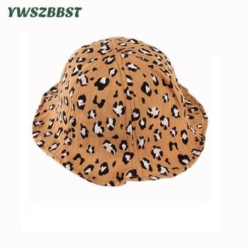 New Spring Summer Baby Sun Hat Cartoon Leopard Print Girls Kids Boys Bucket Cap Outdoor Fashion Toddler