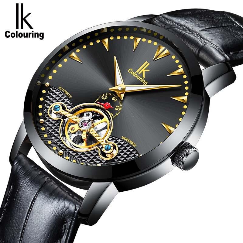 Men Luxury Brand Watch IK colouring Automatic Mechanical Wristwatches Leather Skeleton Men Watches Luxury Brand Heren Horloge orkina male watches skeleton auto mechanical men wrist watch mesh band heren uhr automatic wristwatches