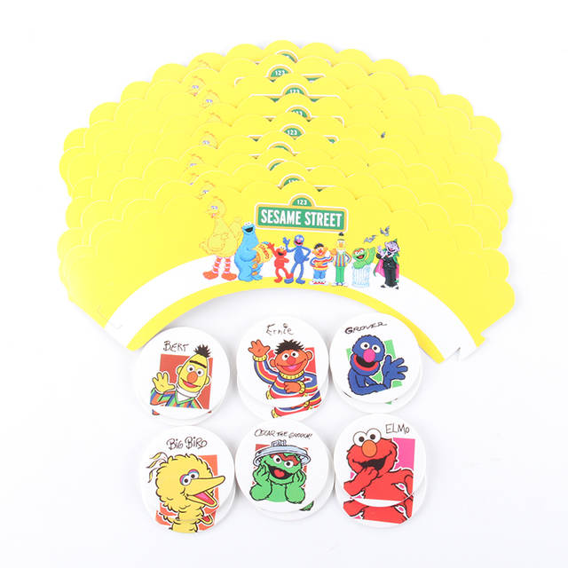 US $1 6 29% OFF|24Pcs Sesame Street Cake Toppers Cupcake Wrappers Birthday  Party Cake Decoration Baby Shower Sesame Street Party Supplies-in Cake