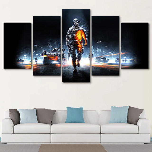 Pictures Framed HD Printed Modern Decor Living Room Wall Art 5 Panel Battlefield Male Warrior Game Home Painting Modular Canvas