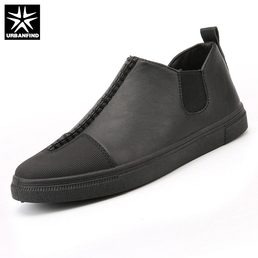 URBANFIND Slip-on Men Leather Casual Shoes EU Size 39-44 New Arrival Man Leisure Fashion Footwear Black / White / Gold new arrival fashion rivets men leather shoes men s lace up breathable pointed toe casual shoes low leisure man shoes size 38 44