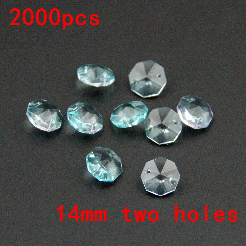 Gorgeous 2000pcs/Lot 14mm Lt Aquamarine Crystal Chandelier Beads In Two Holes Free Shipping, Diy Wedding Garland Strand Beads