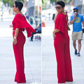 Adogirl Red Trendy Rompers Womens Jumpsuit With Belt V Neck Cap Full Length Wide Leg Pant Jumpsuits Monos Largos De Mujer