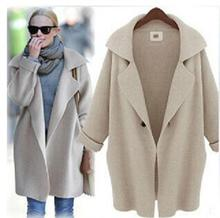 2016 New Womens Winter Jackets And Coats Plus Size Turn Down Collor Coat Shawl Collar Cardigan