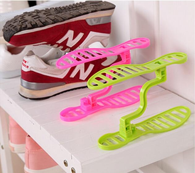 1 Pair Creative Space Save Design Plastic Home Furniture Shoe Storage Shelf Organizer Keeper Unisex Shoe Rack XJ001