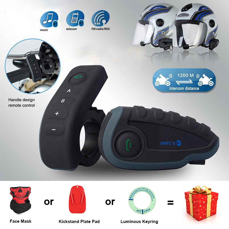 New Motorcycle Helmet Intercom 1200M USB FM Bluetooth V3.0 Multi Interphone V8 Headsets Kits for 6 Rider Motorcyclist Skiers