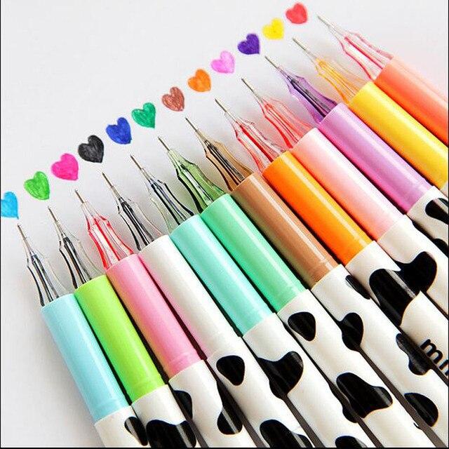 12 pçs/lote 12 Leitoso caneta gel colorido Diamante ball pen Papelaria Coreano Canetas papelaria material escolar material escolar G088