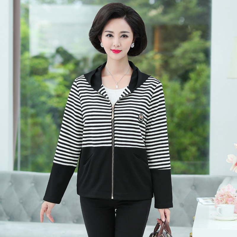 Buy Casual Loose Stripe Hooded Jackets And Coats For Woman Plus Size Middle Old Age Mother Clothes Zipper Autumn New Outwear Top for only 23.95 USD