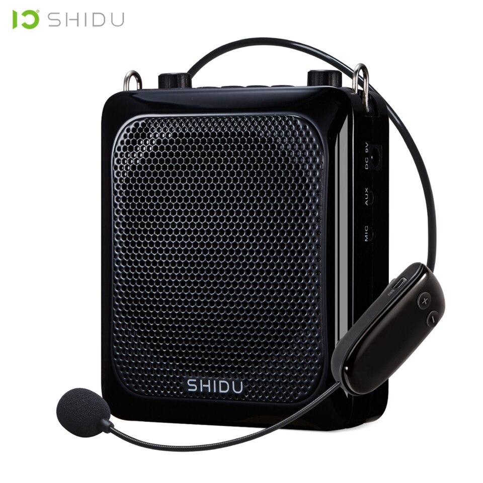 SHIDU 25W Ultra Portátil Mini Bluetooth De Áudio USB Speaker Amplificador de Voz Com Microfone Sem Fio UHF Para Professores Turista S28
