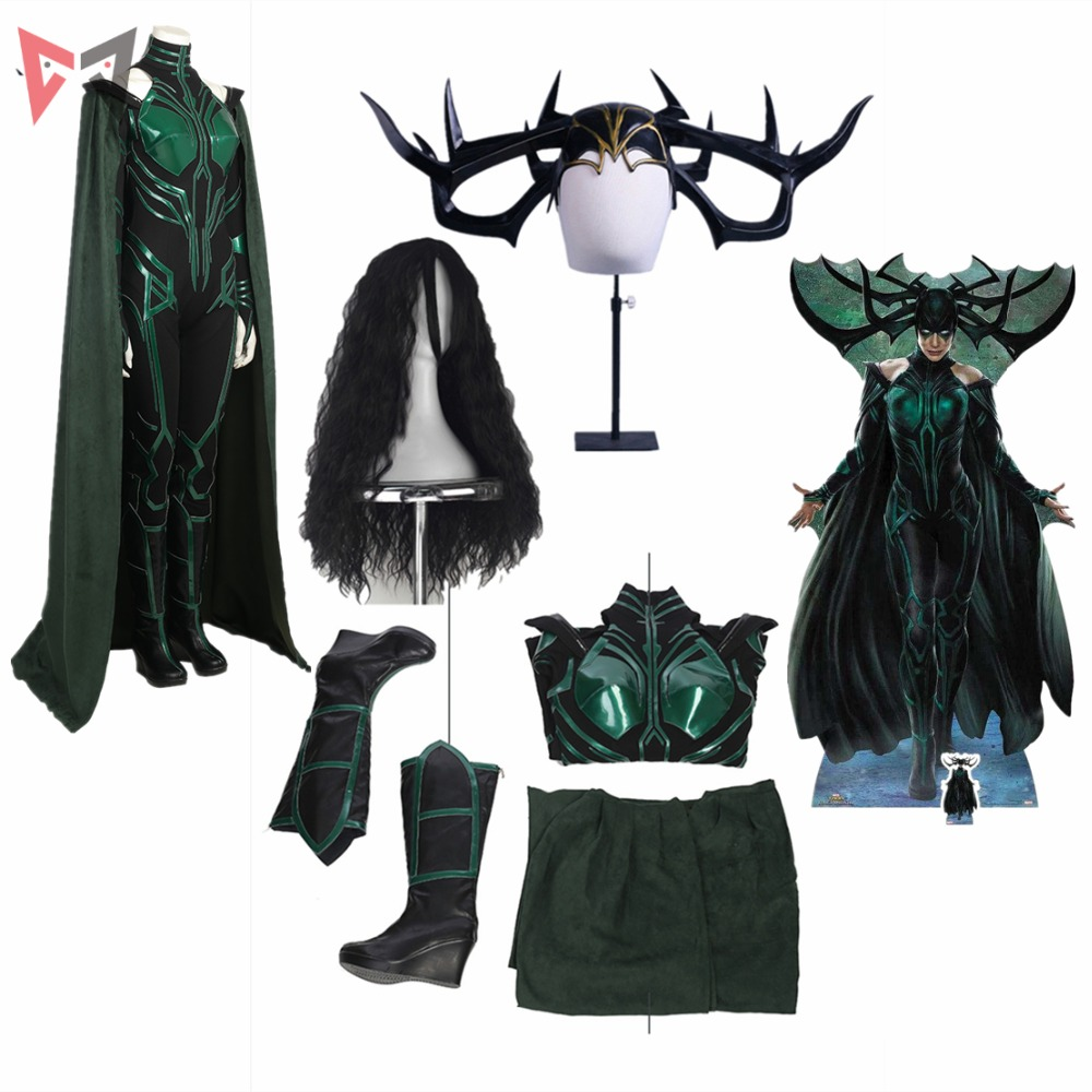 MMGG Halloween Thor Ragnarok cosplay  Hela Cosplay Costume accessories custom made Dress High Quality