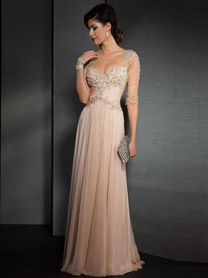 Vintage Crystal Chiffon Half Sleeve Long Elegant Prom ...