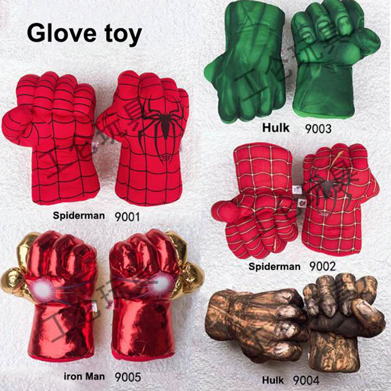 ZSIIBO Trend Hulk Fist Spider-Man Iron Man Gloves Role-playing Hulk Movies Around Boxing Plush Children