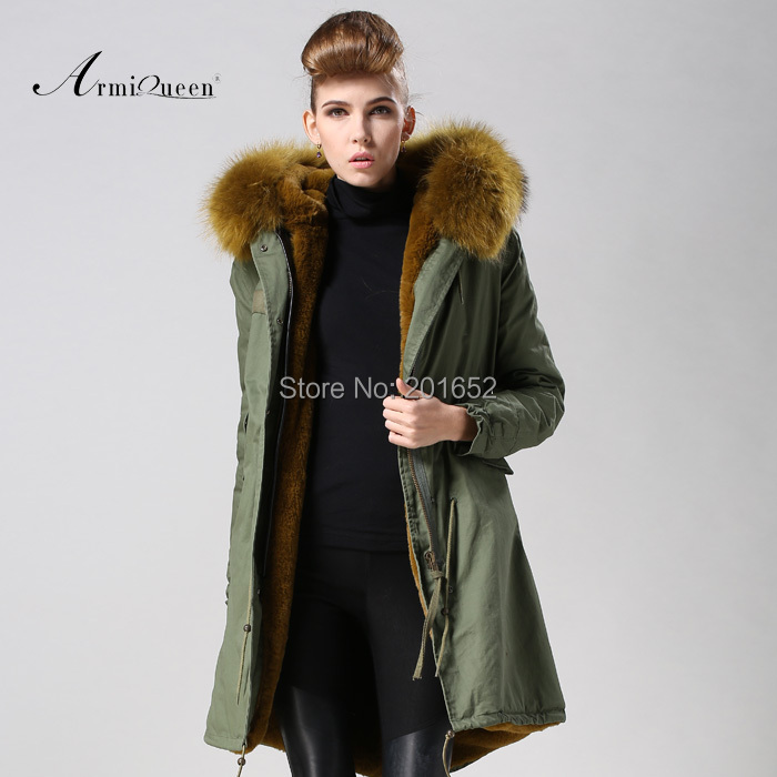 NEW Womens fur Jacket Long Coat Hooded Winter Big Fur Collar Warm Outerwear