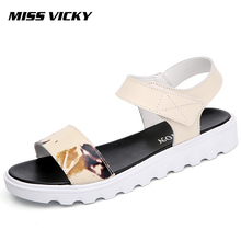 MISS VICKY2019 Summer New Womens Sandals Hook & Loop Leather Flat Casual