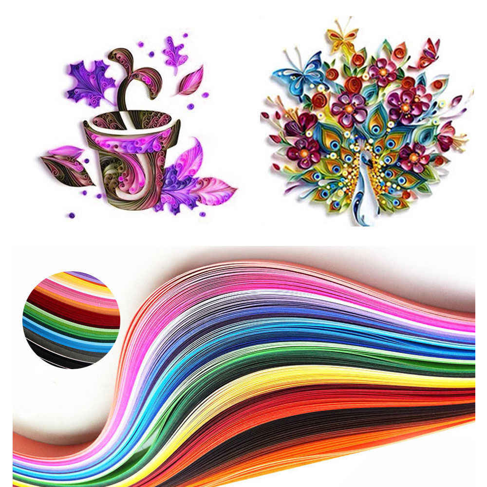 120 Stripes Quilling Origami Paper Home Decor DIY 5mm Six Colours Craft Gift