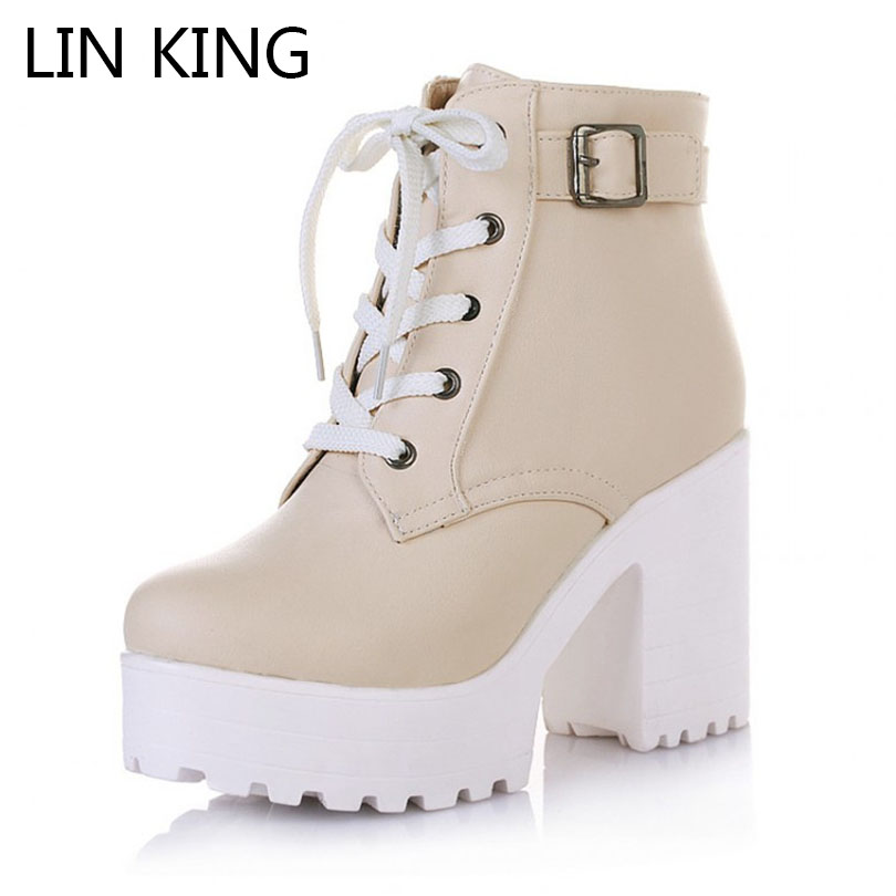 LIN KING Vintage Buckle Thick Heel Short Boots Square Heel Women Platform Ankle Boots Fashion Pu Lace Up Martin Boots Big Size