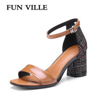 FUN VILLE New Fashion Genuine Leather Women Sandals Summer Shoes Women Open Toe High Heels Party
