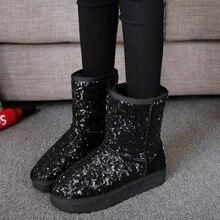 2018 новые зимние сапоги женские теплые модные женские ботинки с блестками удобные женские ботинки с круглым носком на резиновой подошвеЗимние сапоги    АлиЭкспресс