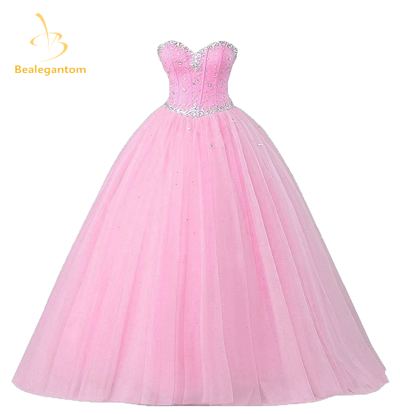 2017 New Pink  Quinceanera Dresses Ball Gowns Sweetheart Beading Lace Up Sweet 16 Dresses Vestidos De 15 Anos Party Gowns QA582