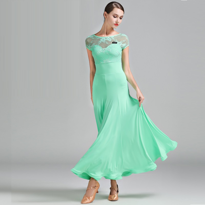3 Colors Green Ballroom Dress Woman Foxtrot Dress Ballroom Waltz Dresses Lady Dancing Spanish Flamenco Dress