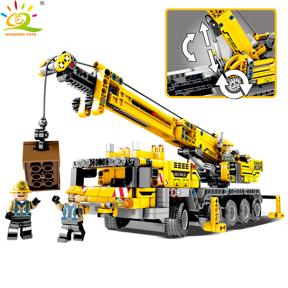 HUIQIBAO TOYS 665pcs Construction Mobile crane Building Blocks For Children Compatible Legoed Technic City Engineering DIY Brick diy flowers blocks city blocks bush trees grass leaves flowers pots building blocks brick legoed blocks toys children toys gifts