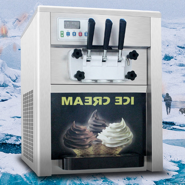 Commercial Table Top Three  Flavor Soft Ice Cream Machine