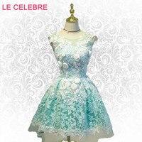 LE CELEBRE Green flower Evening dress, new spring summer, Korean version toast, girl green princess lace evening dress