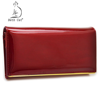 Beth Cat Wallet Female Long Womens Wallets Purses High Quality Solid Genuine Leather Female Handbags Hasp