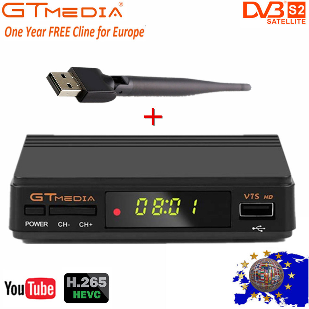 GT Media FTA DVB S2 Satellite TV Receiver V7S HD 1080P Support Youtube Powervu With Usb Wifi +1 Year Cccam Lines From Freesat V7