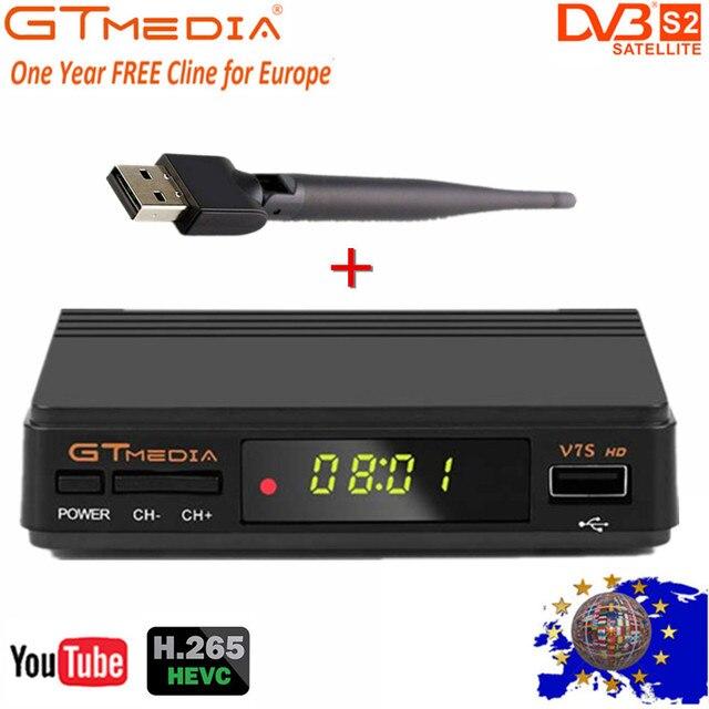 Gt media fta DVB S2 receptor de tv por satélite v7s hd 1080 p suporte youtube powervu com usb wifi + 1 ano cccam linhas de freesat v7