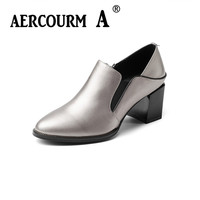 Aercourm A Women Cowhide Shoes Hand Made Women Shoes Genuine Leather High Heel Pumps Autumn Lady
