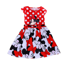 Girls Dresses 2017 Summer Cartoon Minnie Baby Tutu Dress Red Polka Dots Girl Dress Party Princess Costume Baby Children Clothing arrival new 2017 princess summer baby girls black dress white polka dots children fashion dresses for little girl dresses