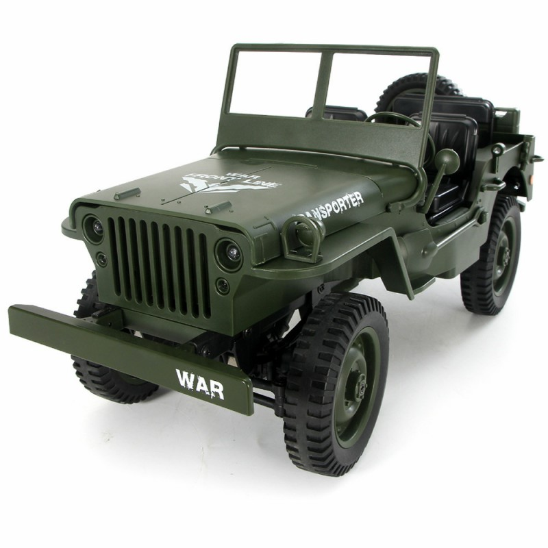 1:10 RC Car 2.4G 4WD Convertible Remote Control Light Jeep Four-Wheel Drive Off-Road Military Climbing Car Toy Kid Gift willys jeep 1 10