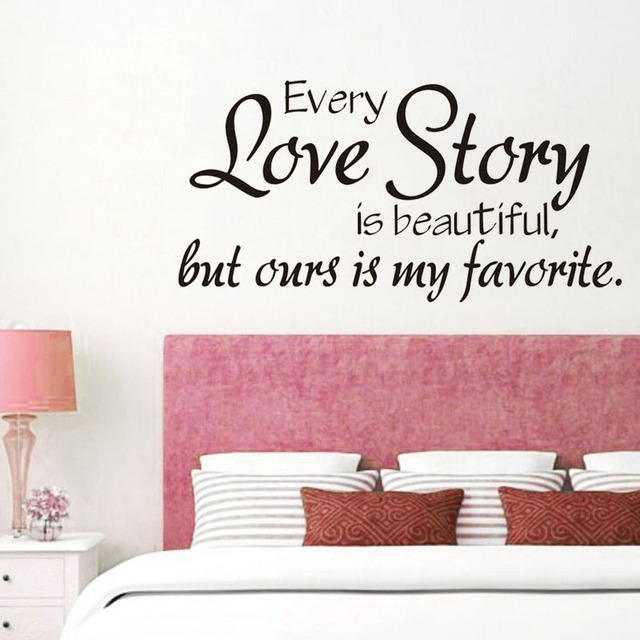 Love Story Quote Wall Sticker DIY Removable Vinyl Wall Stickers For ...