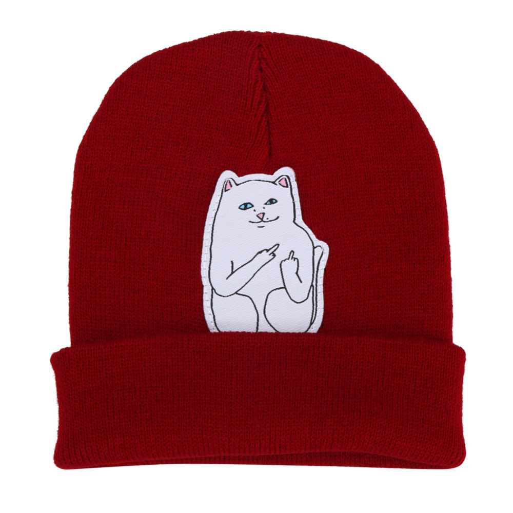 Women Cap Knitted Cat Hat Hip Hop Skullies Beanies Men Street Stretchy Soft Warm Winter Cap Unisex Black/gray/red/navy women cap skullies