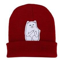 Женщины Cap Трикотажные Cat Hat Хип-Хоп Skullies Шапочки Мужчины Улица Эластичный Мягкий Теплый Зимняя Шапка Унисекс Черный/серый/красный/синий