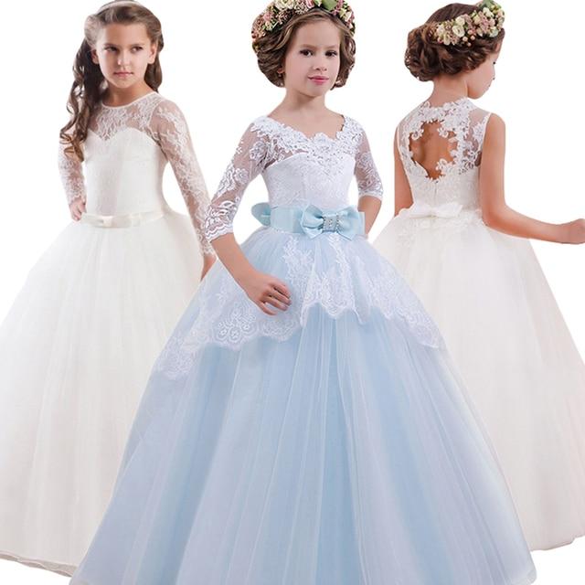 Party Dress Baby Kids White Bridesmaid Flower Girls Wedding Dress Children  Princess Dress Teenage Girls Clothing 6 8 10 12 Year 6f52c163a2b9