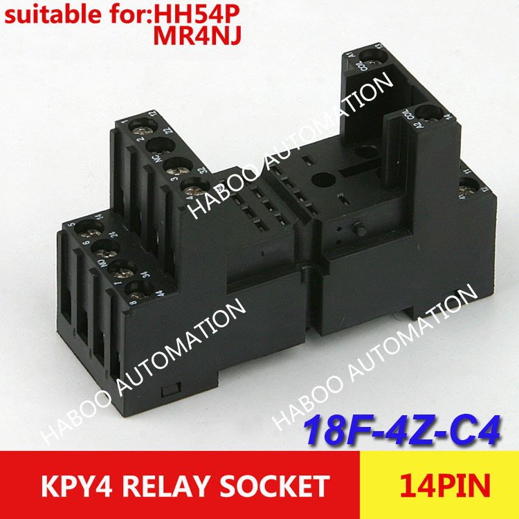 10pcs/lot 14 pin socket KPY4 PYF-14BE/3 sreies relay socket electrical mini socket HABOO 4NO+4NC 300V 10A socket set