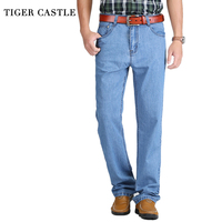 TIGER CASTLE Summer Thin Cool Men Jeans Large Size Baggy Blue Trousers Cotton Casual Male High