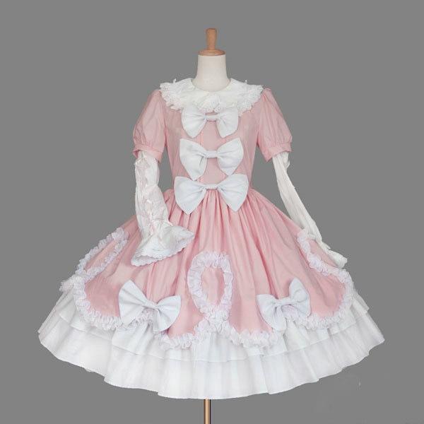 Femme Costume Parti Gothique Coton Élégant Custom Robe Vêtements Lolita Noir Cosplay blanc rose Femmes Été Made Dentelle 48qwPgc0A