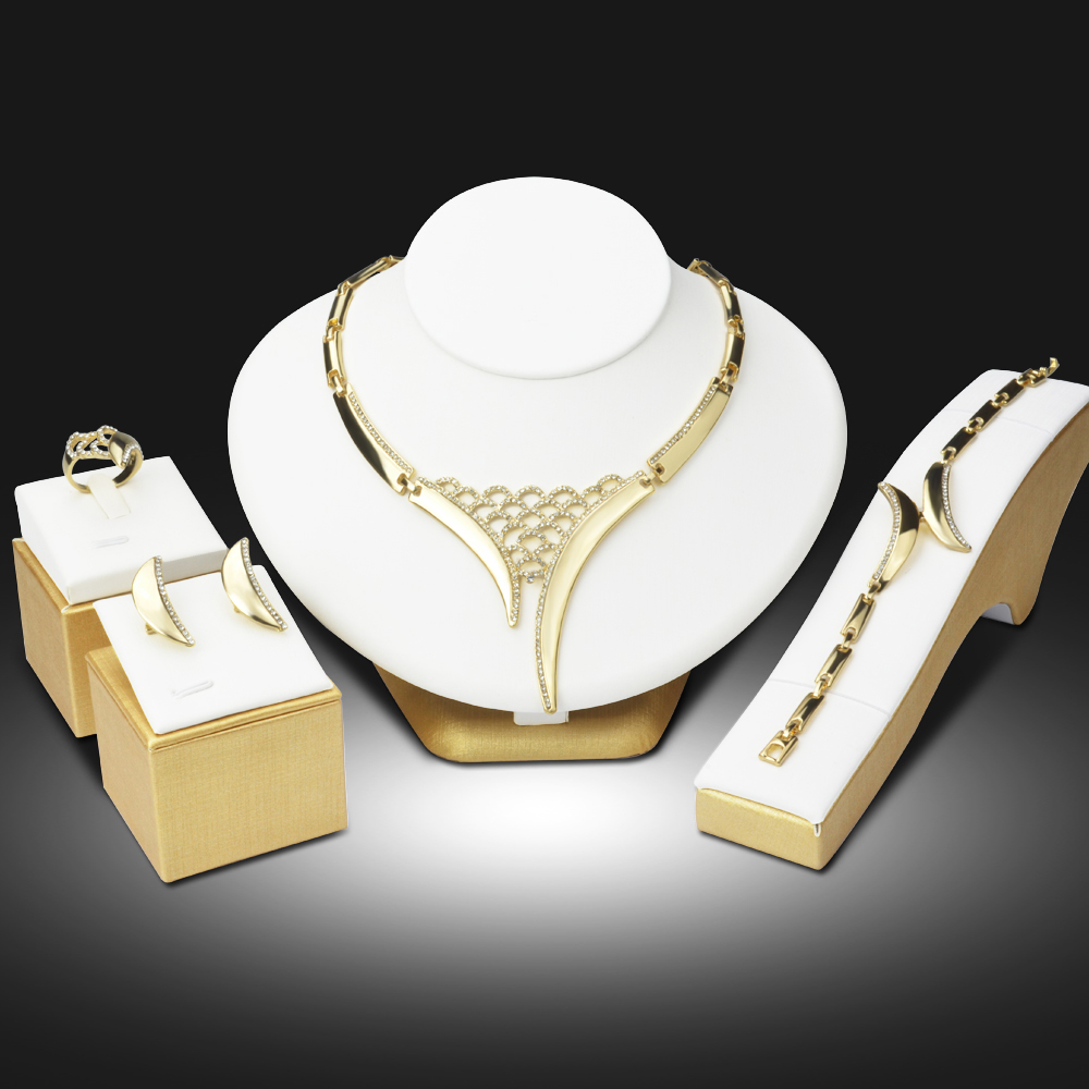 Dubai Gold Color Jewelry Sets Nigerian Wedding African Beads Crystal Hollow Bridal Jewellery Set Rhinestone Ethiopian Jewelry